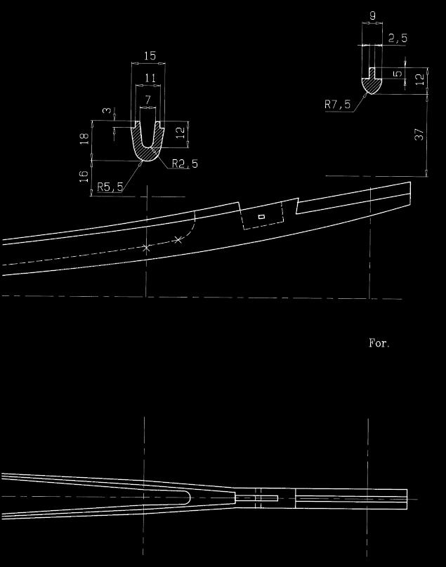 Tegning af bundplankens endedannelse.