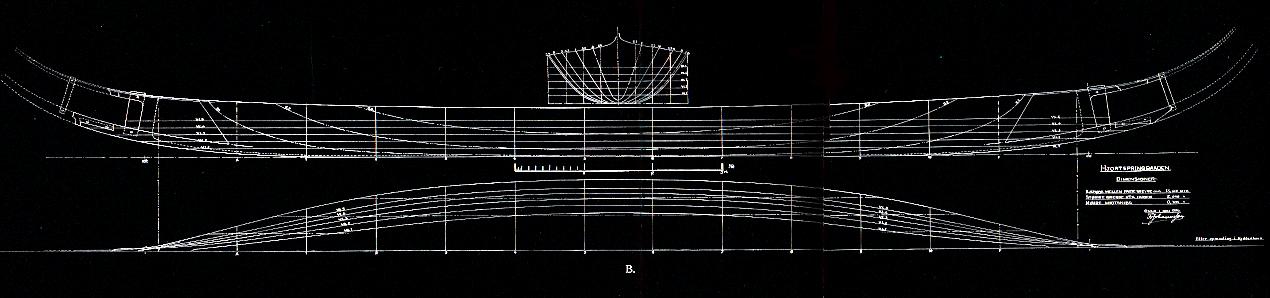 Johannesens smukke tegning af Hjortspringbåden. Udført i 1936.