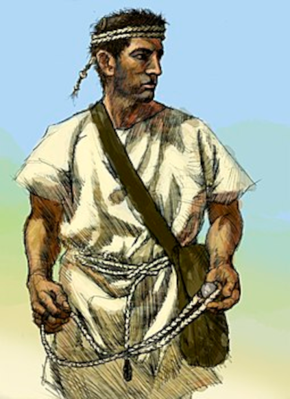 Infanterist fra antikkens Grækenland bevæbnet med simple slynge og taske til missiler (kasteskyts).