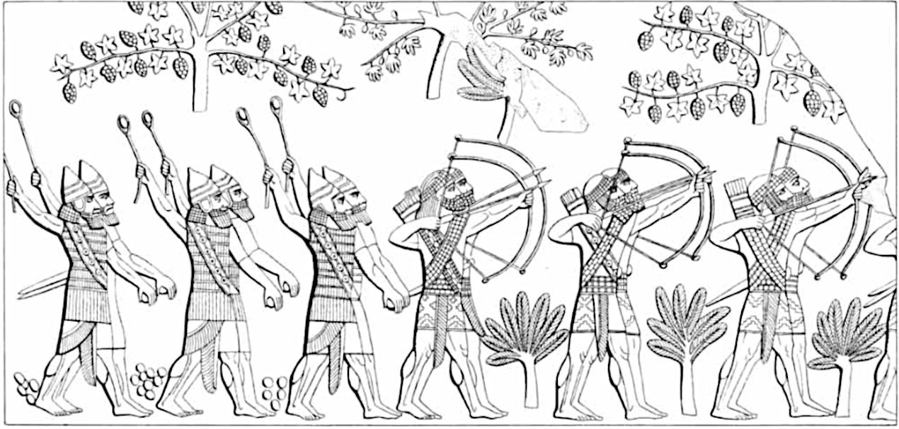 Eksempel på assyriske stenslyngekastere.