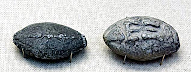 Kasteskyts (missiler) støbt i bly. Fra det 400 århundrede før Kristus.