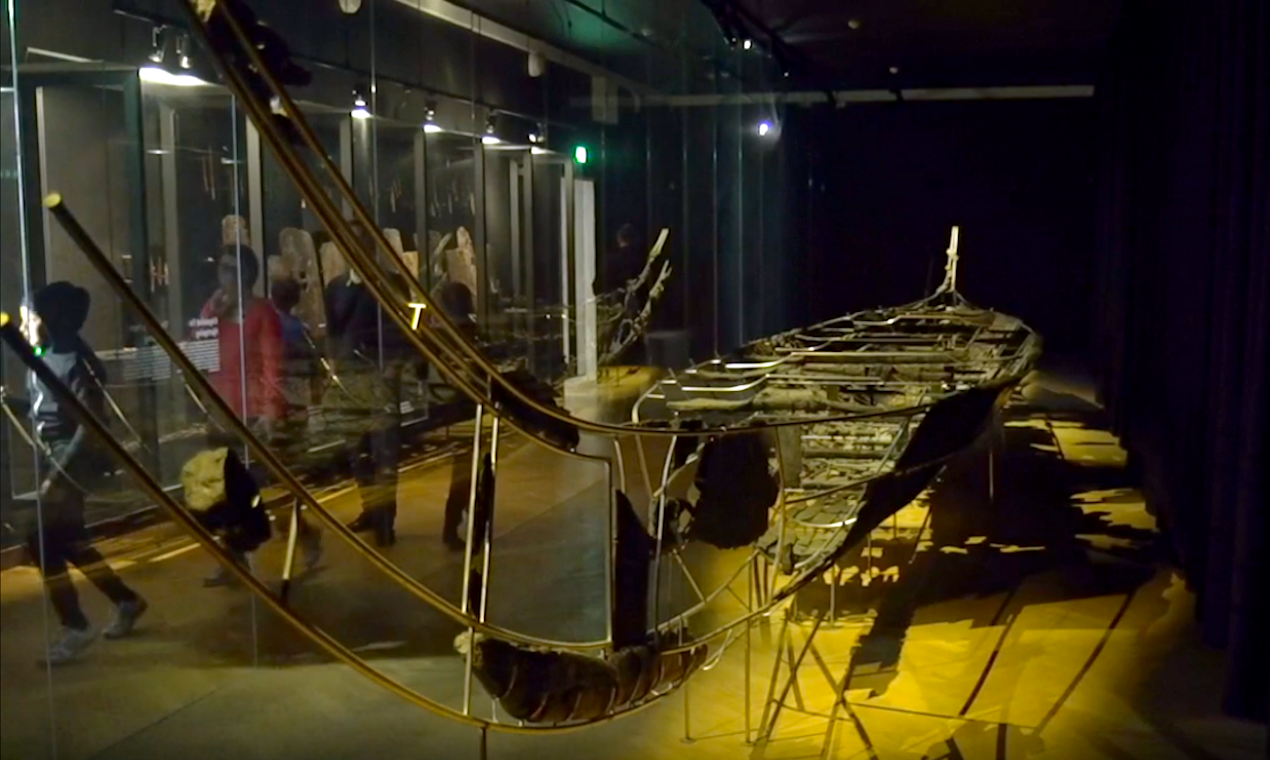 The Hjortspring-Boat on display at the National Museum.