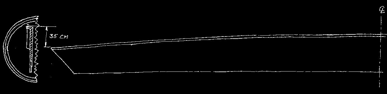 Skitse af udfoldet rælingsplanke.