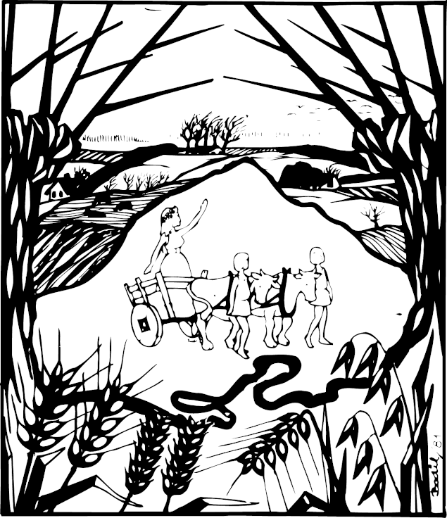 Forsiden af sognebladet Holmboen, der viser gudinden Nerthus i sin kærre.
