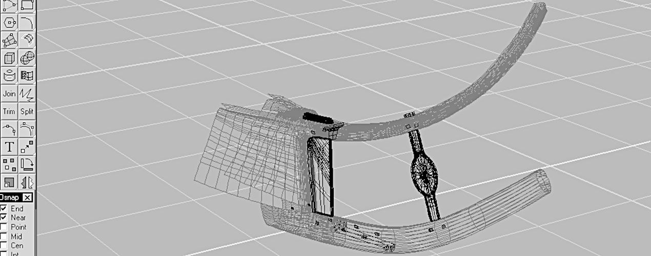 3-D trådmodel af stævn.