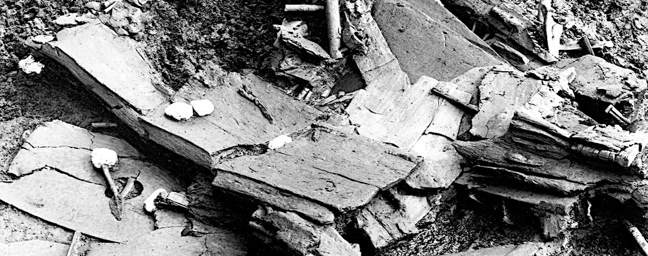 Holzteile bei der Ausgrabung.
